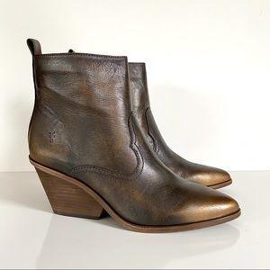 Frye Amado Bronze Brown Wedge Heel Ankle Bootie